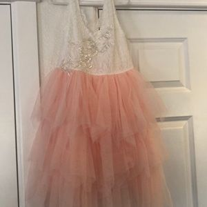 Girls fancy peach and white lace dress